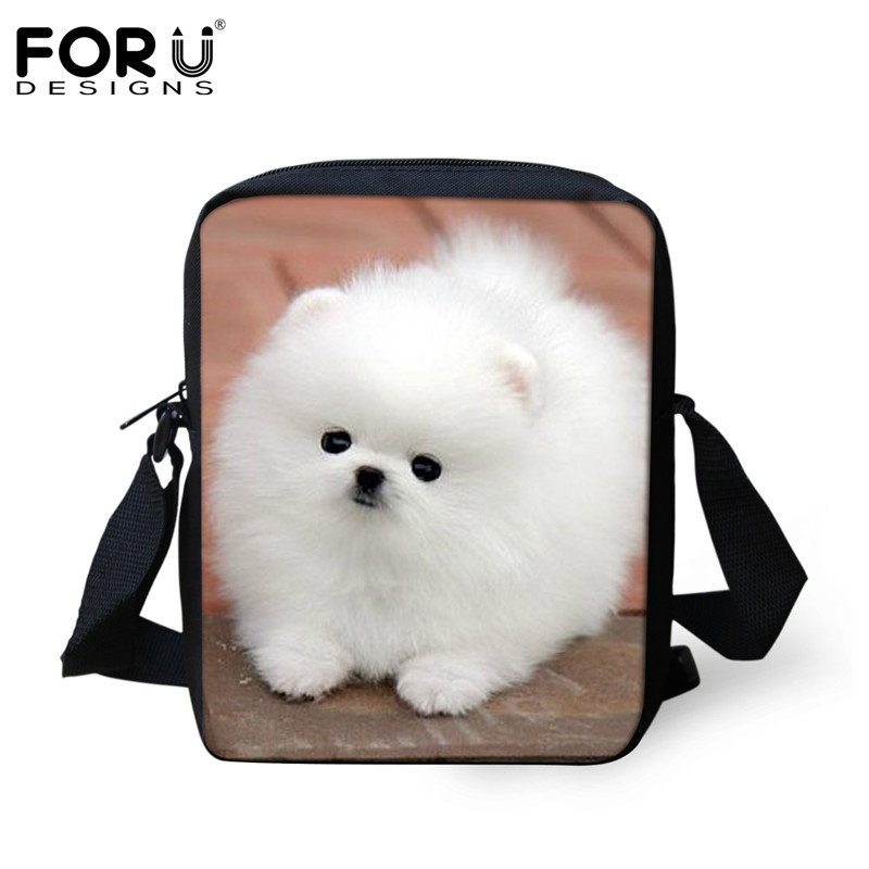 FORUDESIGNS Cute 3D Pomeranian Pattern Women Crossbody Bags Luxury Brand Small Messenger Bag For Ladies Travel Shoulder Handbags