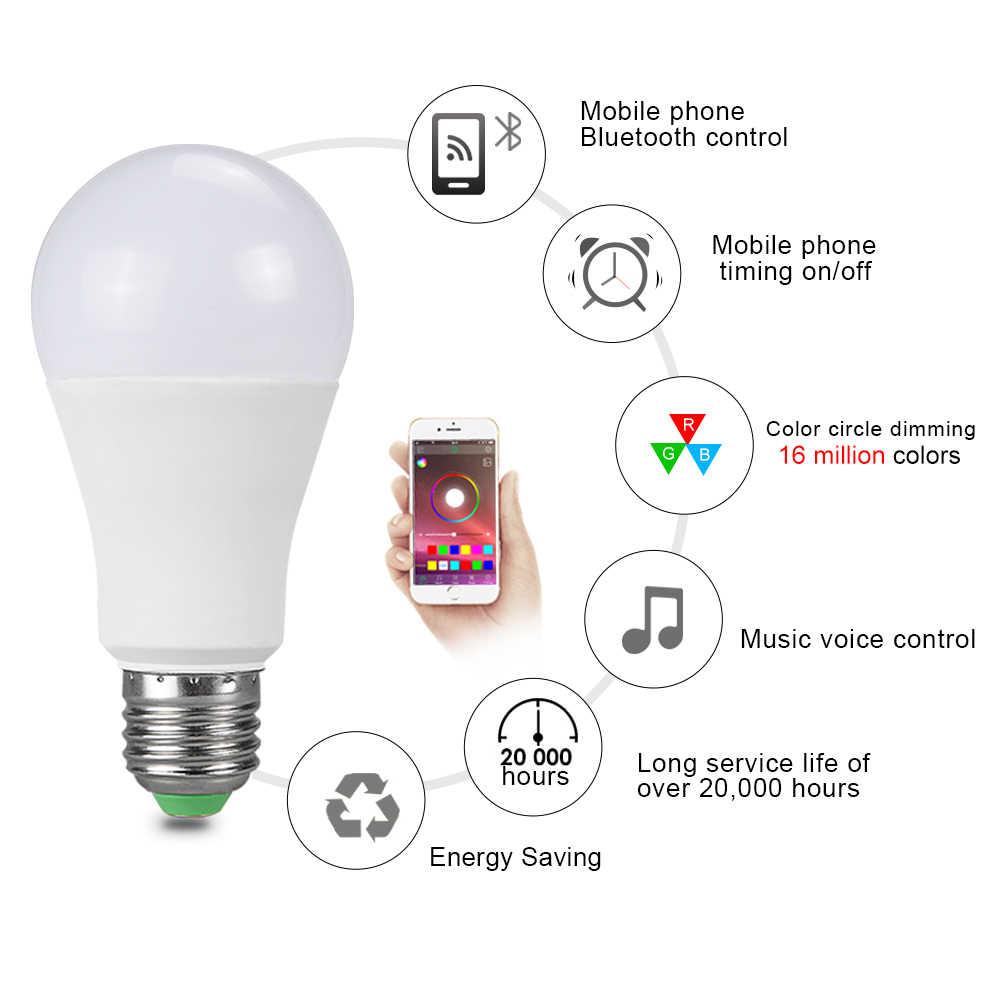 Foxanon Bluetooth 4.0 dioda LED RGB światła E27 15 W LED lampa światła RGBW RGBWW magiczne inteligentne oświetlenie lampa nadaje się do ściemniania aplikacji kontrola dźwięku
