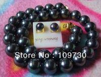 Jewelry 00338 HUGE 11 12MM 18 14KGP TAHITIAN BLACK Blue PEARL NECKLACE EARRING