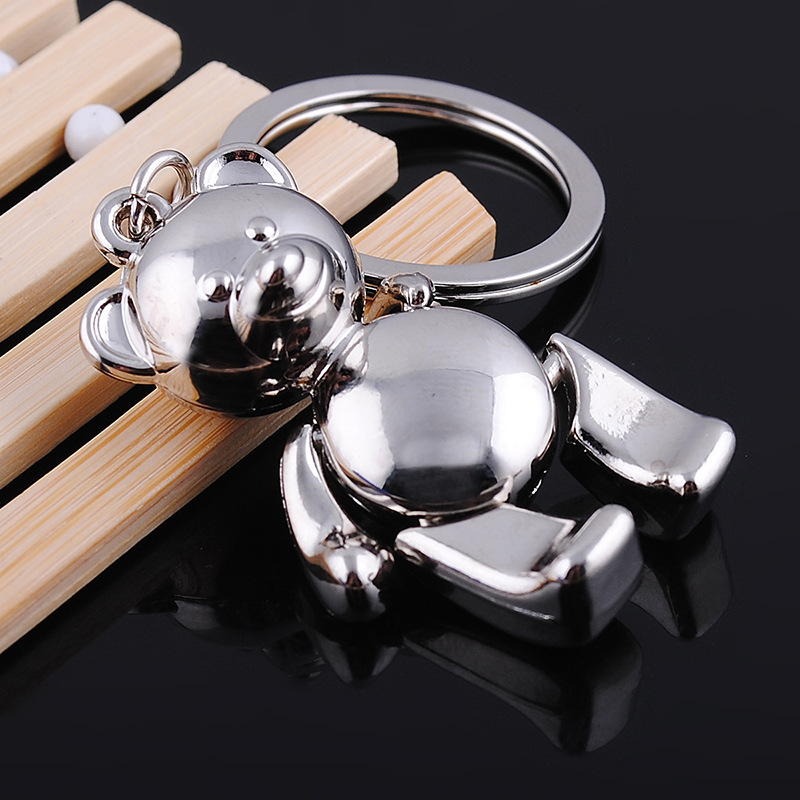 Have An Inquiring Mind novelty Wedding Favor Gifts Creative Cute 3d Bear Metal Keychains Car Keyring Charm Jewelry Key Holder Souvenir Street Price 12 Pieces/lot
