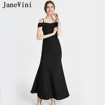 JaneVini Simple Black Long Bridesmaid Dresses Mermaid Pleats Satin Spaghetti Straps Backless Ankle Length Wedding Party Dress