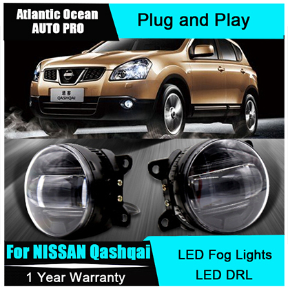 Auto Pro Car Styling LED fog lamps For NISSAN Qashqai led DRL lens For NISSAN Qashqai LED fog lights led daytime running lights for opel astra h gtc 2005 15 h11 wiring harness sockets wire connector switch 2 fog lights drl front bumper 5d lens led lamp