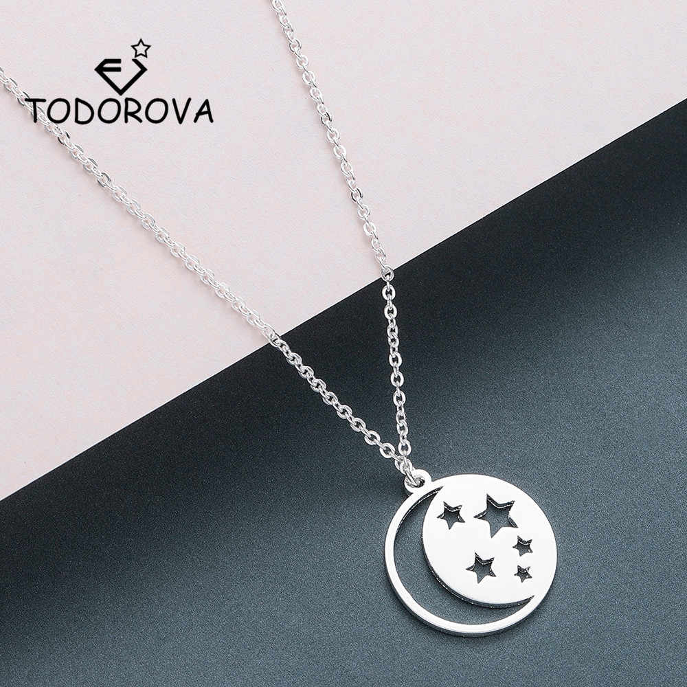 Todorova Crescent Moon Star Necklaces & Pendants Men Jewelry Stainless Steel Gold Chain Necklace Women Accessories