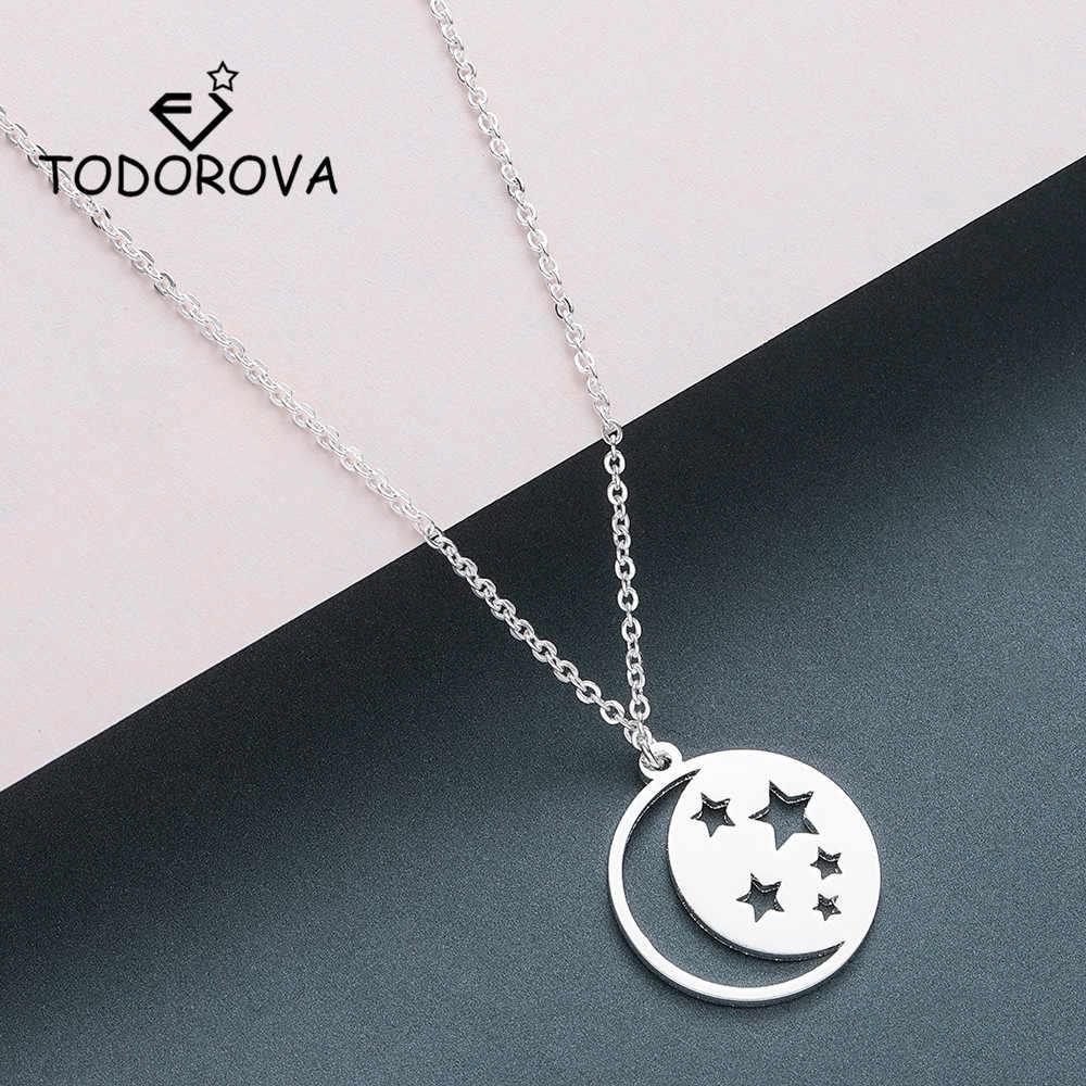 Collares de estrellas y colgantes de luna creciente Todorova, joyería para hombres, cadena de oro de acero inoxidable, collares y accesorios para mujeres