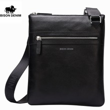 ФОТО bison denim handy top cowhide genuine leather mens messenger bag slim shoulder bag casual