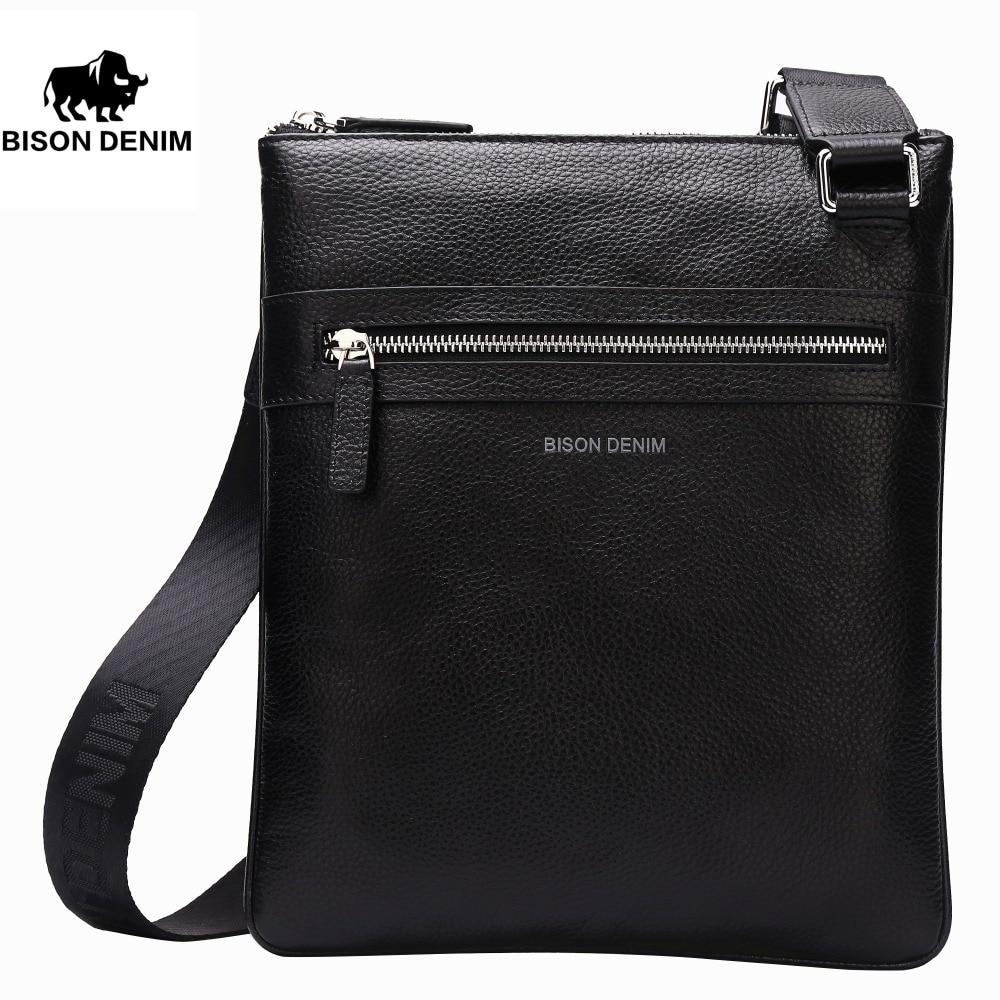 Bison Denim Handy Top Cowhide Genuine Leather Mens Messenger Bag Slim Shoulder Bag Casual