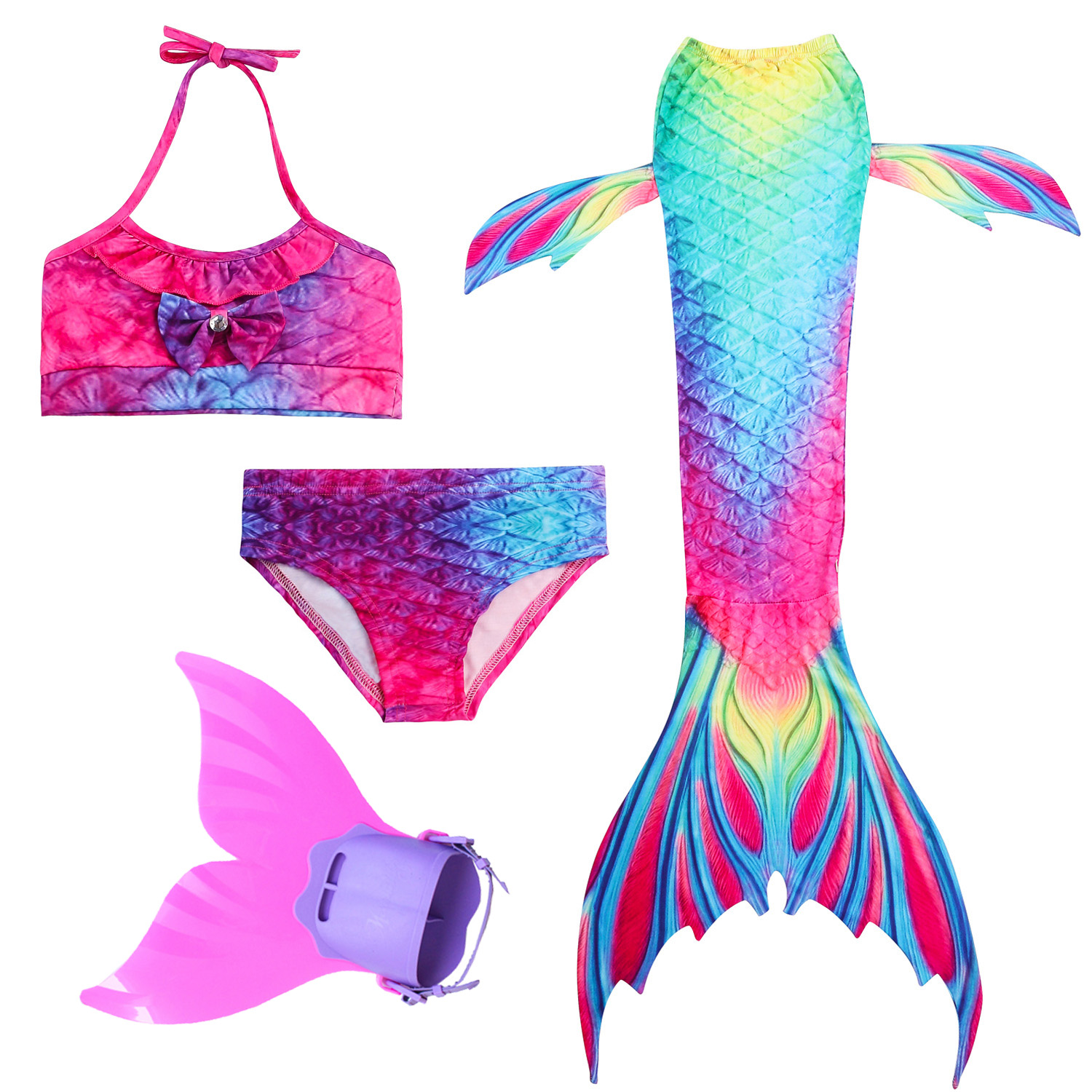 2019 HOT 4PCS/Set Girls Swimming Mermaid Tails With Fin Cosplay Swimwear Bikini Bathing Suit Dress For Girls Kid Summer Swimsuit