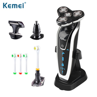 Kemei5181 Washable Rechargeable Electronic Shaver Triple Blade Electric Shaving Razors Men Face Care 3D Floating Free