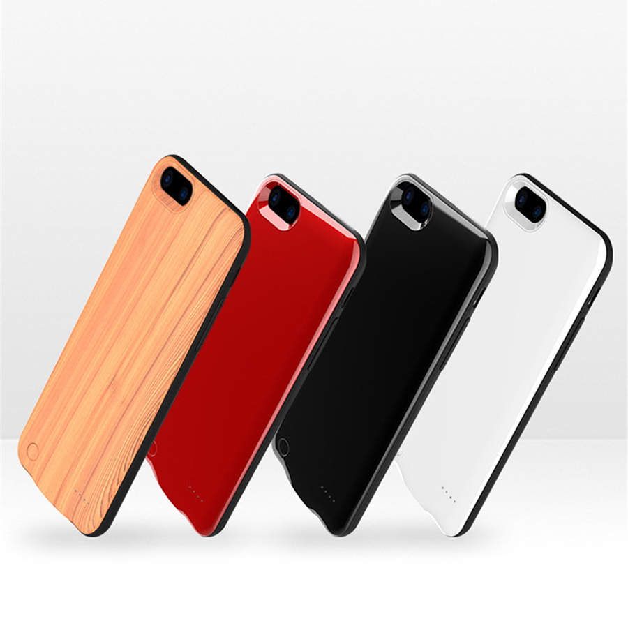 1x BUFFLE Customized Power Bank Battery Phone Case for <font><b>iPhone</b></font> 6 6S 6S Plus 7 Plus Ultra-thin Wood Pattern Magnetic Cases