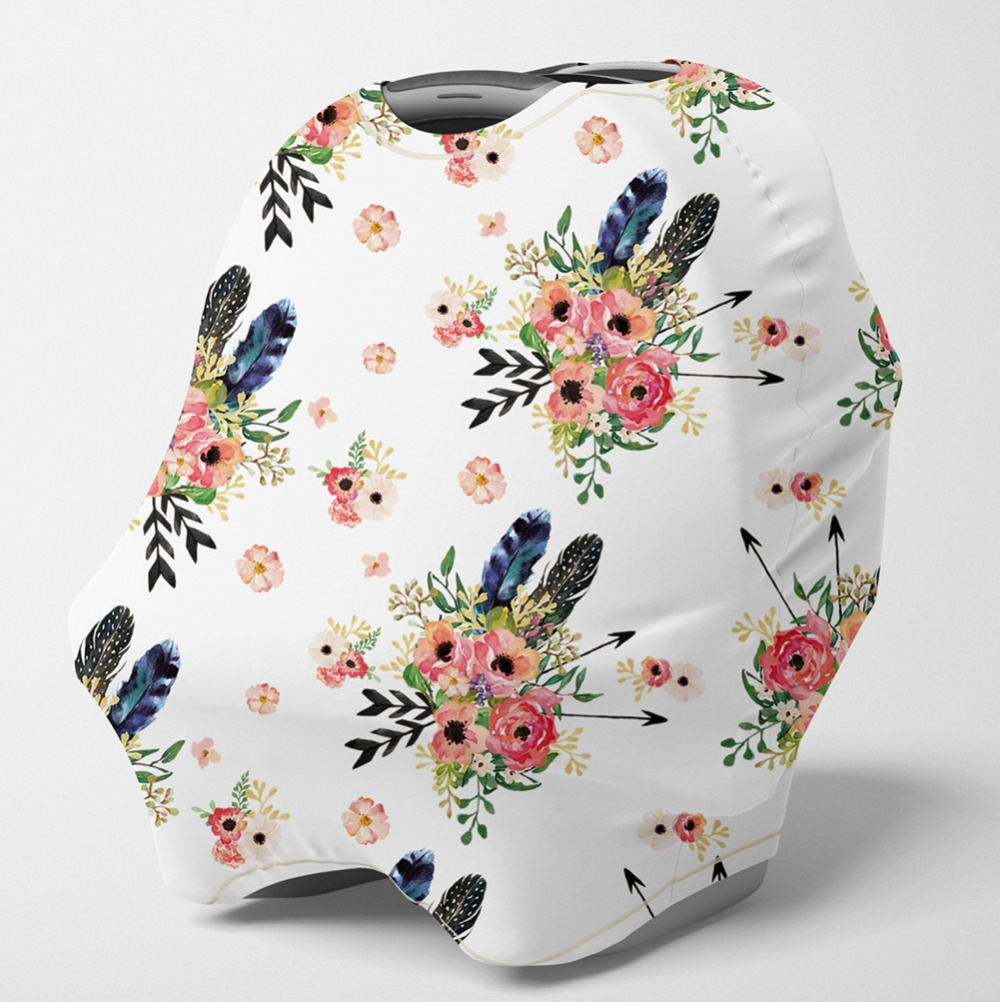 Nursing Cover Multi Use Breastfeeding ScarfBaby Car Seat Covers,Infant Stroller Cover,Carseat Canopy For Boys(Feather Floral)