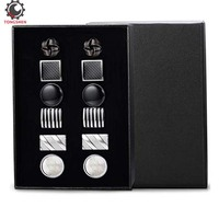 6Pairs Classic Cufflinks Set for Men Wedding Bussiness Cufflink Shirts Mens Jewelry with Gift Box Tie Clips Cufflink Set