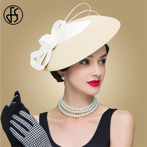 Image 2 - FS Fascinators Black And White Weddings Pillbox Hat For Women Straw Fedora Vintage Ladies Church Dress Sinamay Derby Hats