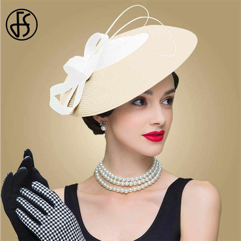 0fc71f59f FS Fascinators Black And White Weddings Pillbox Hat For Women Straw Fedora  Vintage Ladies Church Dress Sinamay Derby Hats