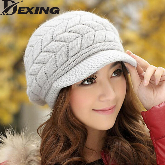 [Dexing]Ms. Korean version of the fall and winter day angora wool cap knitted cap child bunk warm winter hat ear cap tide