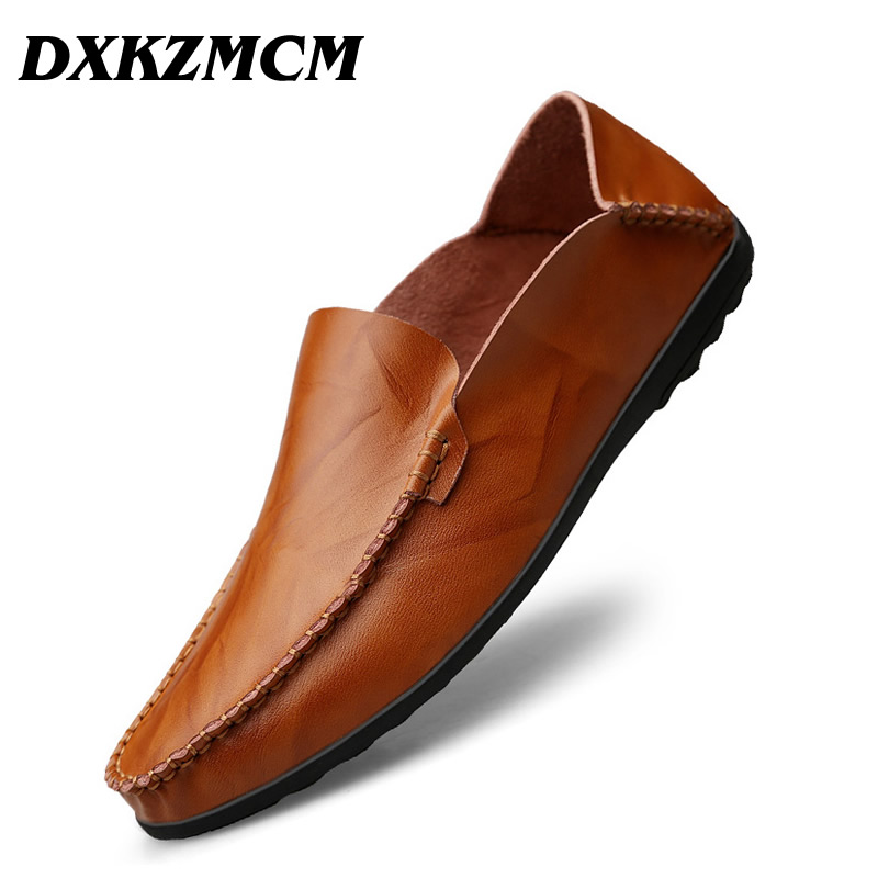 DXKZMCM Soft Genuine Leather Men Loafers Handmade Casual Shoes Men Moccasins For Men Leather Flat Shoes original handmade autumn women genuine leather shoes cowhide loafers real skin shoes folk style ladies flat shoes for mom sapato