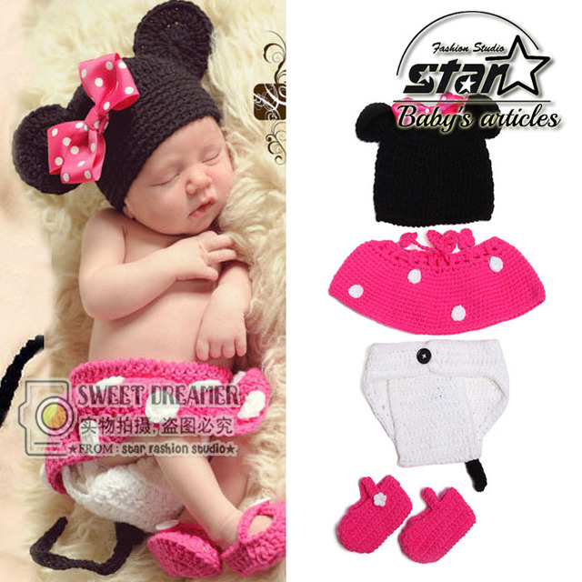 5980afc7473 Woolen Cute Mickey Baby Cap Sets Knitted Newborn Hat Bebes Photography Props  Accessories Beanie Shoe Skirt