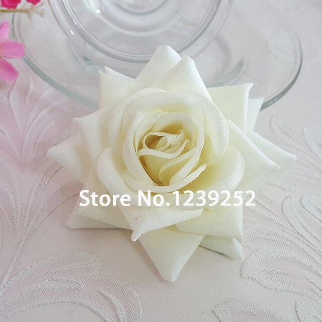 Baru 5 Pcs 8 CM Putih Buatan Rose Kain Flanel Korea Kepala Bunga Dekorasi  Bunga Dekorasi 83974715ff