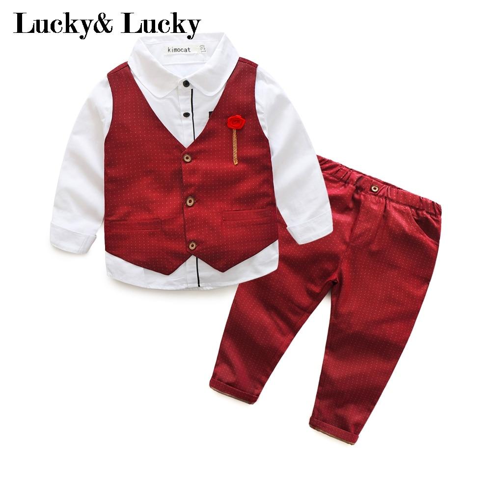 3 шт./компл. красный комплект одежды для детская одежда жилет + рубашка + Штаны для свадьбы и одежда на выход комплект ...