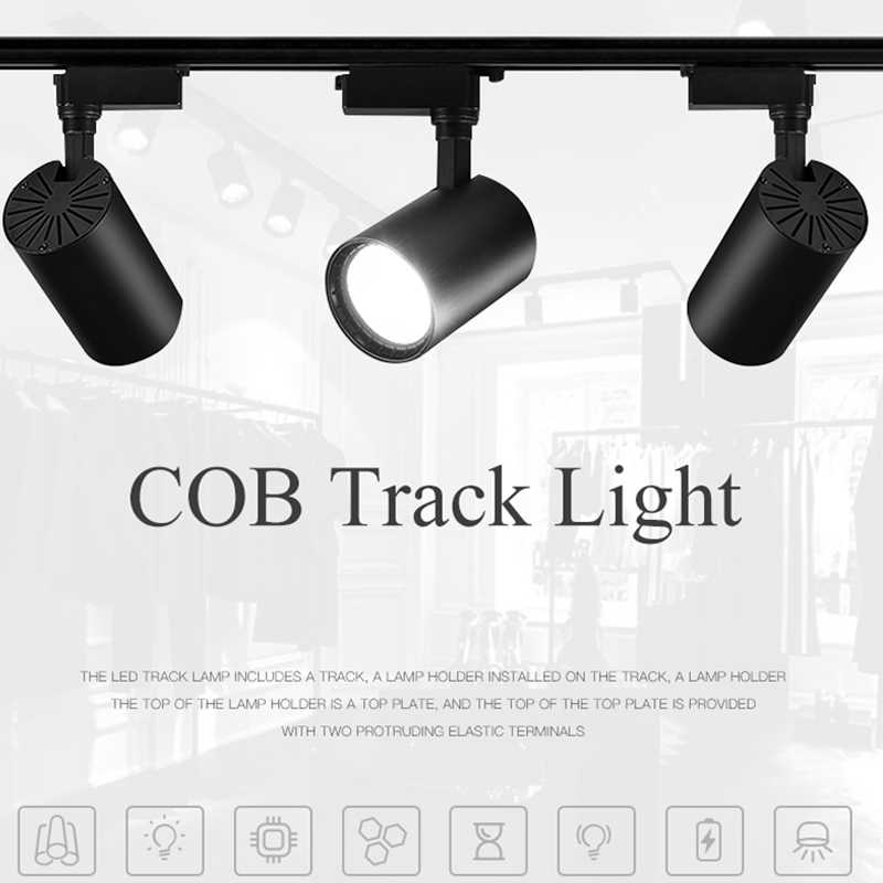10pcs LED TRACK Light 12W 20W 30W 40W COB โคมไฟติดตั้งไฟสปอตไลท์แทร็กสำหรับห้องนั่งเล่น Store Shop