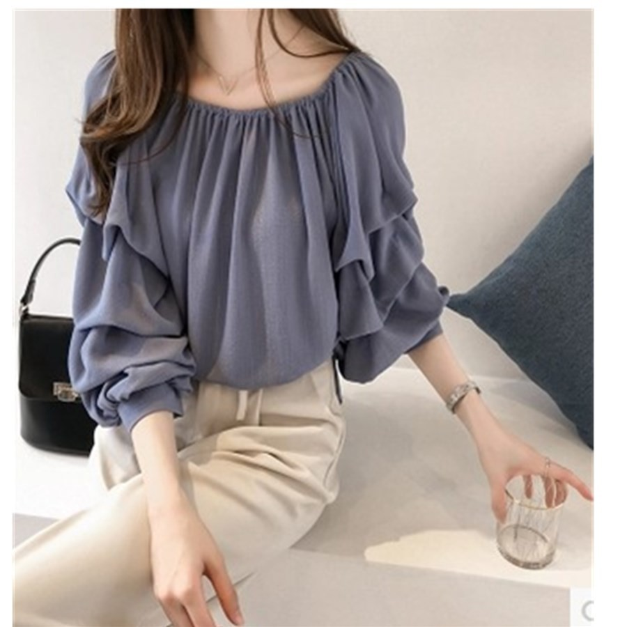 Spring New Pattern Korean Temperament One Word Lead Chiffon Shirt Woman Solid Color 1