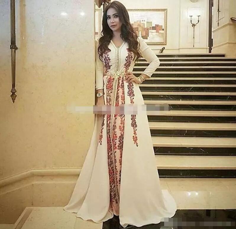 Robe De soirée musulmane élégante caftan marocain 2019 Robe De soirée Dubai dentelle Applique Robe formelle à manches longues femmes Robe De bal - 6