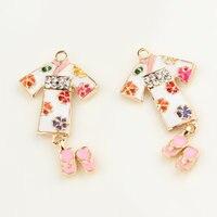 MIni Auftrag 10 Teile/los Japan Kimono Tuch Anhänger Charme DIY Schmuckzubehör Armband Halskette Emaille Strass Metall Charme