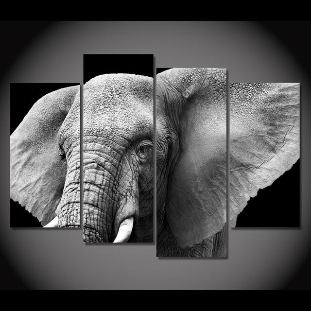 top modulaire photos lphant dfenses oreilles ivoire peinture sur toile 4 pcs sans cadre mur photos - Cadre Elephant