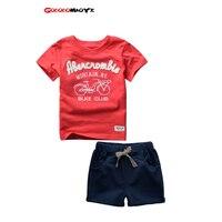 2017 Yaz Moda Çocuk Giyim Pamuk Çocuk Takım Elbise Düğün Için çocuklar Bebek Erkek Spor Marka Boys Seti T-shirt Şort Pantolon 2 adet