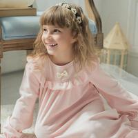 Baby girl sleepdress spring autumn new palace style ruffles sweet style nightgowns children cute flannel home clothes ws164