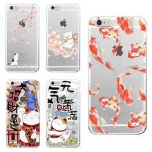 IPhone 6 S XS Max 7 Artı 7 SE 8 8 Artı X Samsung Galaxy S8 Koi Balık Kiraz çiçeği Şanslı Kedi Japon Desen Yumuşak telefon kılıfı