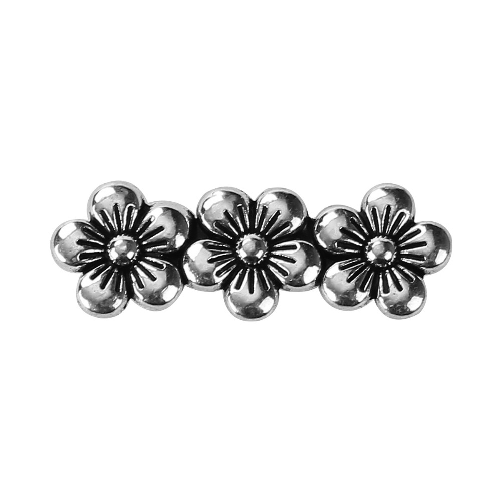 DoreenBeads Zinc Based Alloy Antique Silver Spacer Beads 3 Holes Flower DIY Components 27mm x 9mm, Hole: Approx 1.7mm, 30 PCs