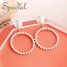 Special European and American S925 silver needle circle big earring ear nail no hole clip buckle rock angel