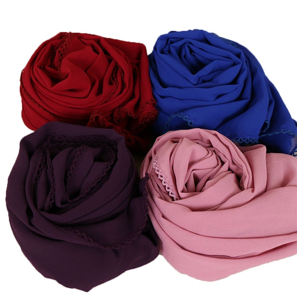 Muslim Women Hijab Bubble Chiffon Floral Lace   Scarves   Shawls Plain Long Headband Fashion   Scarf     Wraps   Shawls