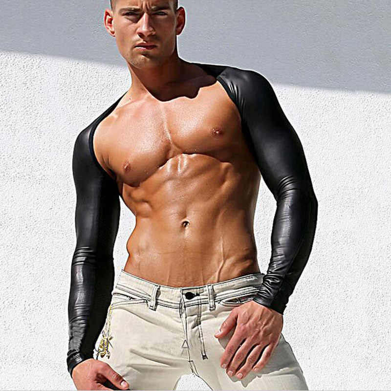 e9cd54a3a1 2018 New Fashion Design Top Quality Mens Black Long Sleeve Faux Leather  Tops Lingerie Fishnet Breathable