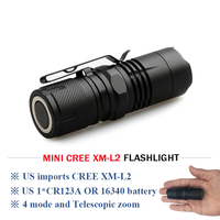 MINI CREE XM L2 Flashlight 16340 Rechargeable Battery Zoomable Waterproof Magnet LED Torch Lanterna Cr123 Battery