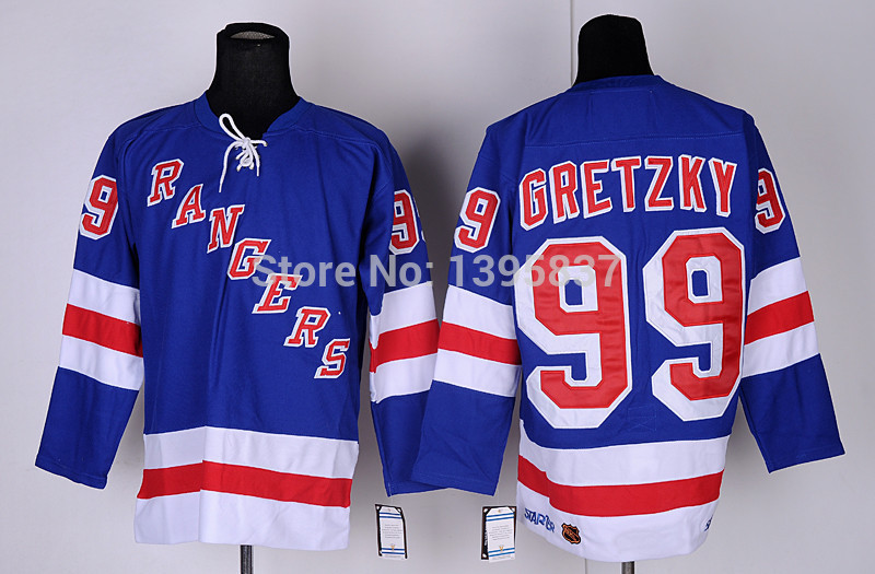 ... Cheap New York Rangers Ice Hockey Jersey 99 Wayne Gretzky Blue NY  Rangers Jersey 2d275da3984