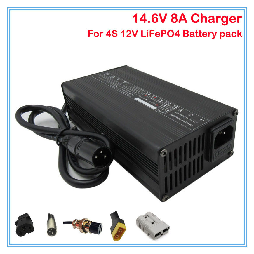 180w 12v 8a Lifepo4 Battery Charger 14.6v 8a Fast Charger With Aluminum Case Use For 4s 12v 30a 40a 50a 100a Battery Pack Chargers