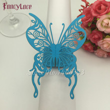 50pcs/lot Pearlescent Paper Nice Butterfly Napkin Ring Wedding Party Serviette Table Decoration Accessories Banquet Dinner Decor