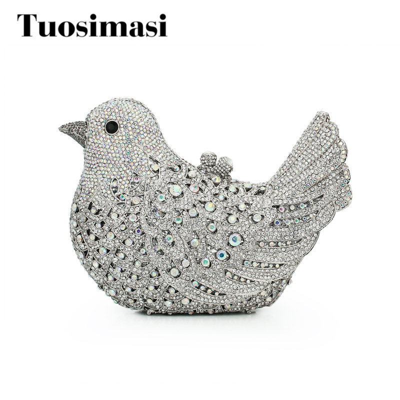 New arrivel bird animal crystal clutch evening bag for party purse women chain handbags bag(8657A-AB) bird patch purse