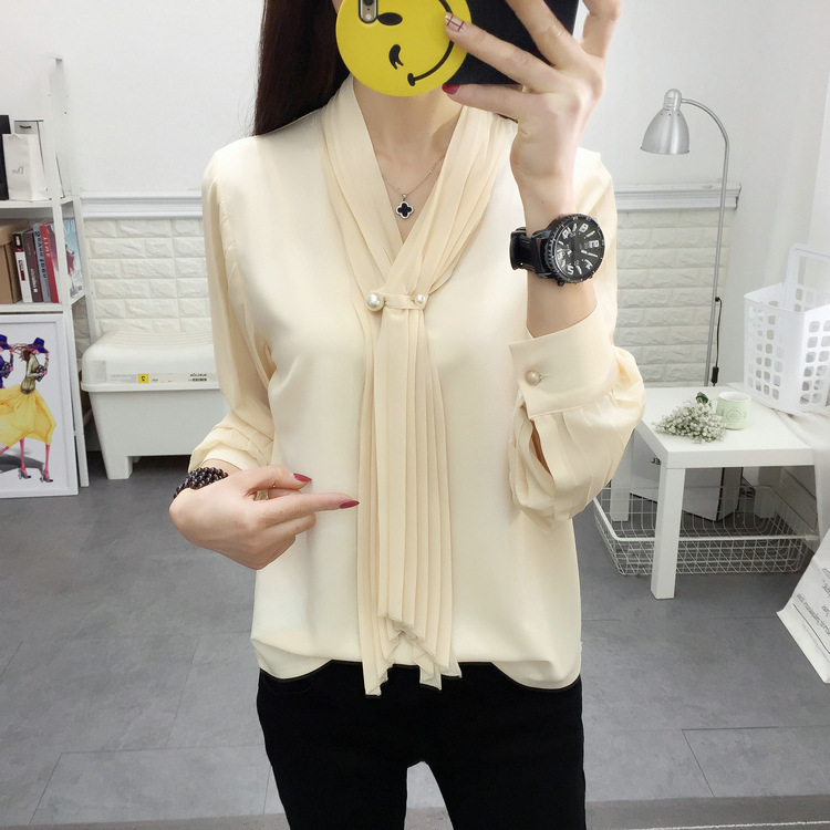 Women's Clothing 2019 Shirt Rounded Corner Hem Hem Drill Sleeve Scarf Spring Summer Chiffon Shirt Beige Long-sleeved Fashion Shirt Women Chiffon