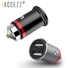 !ACCEZZ Dual USB Car Charger QC 3.0 For Xiaomi mi 9 Huawei P30 Pro Aluminum Mini Fast Charge Quick Charging Adapter