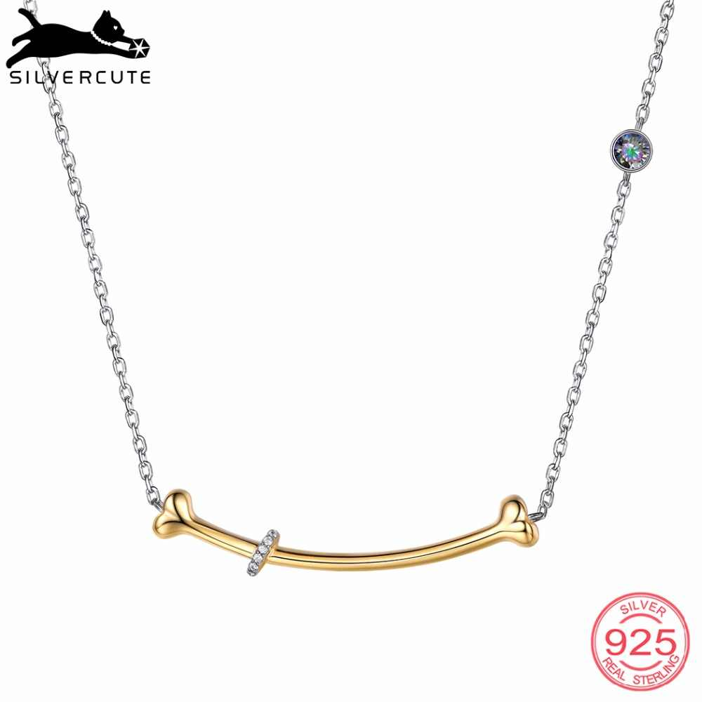 SILVERCUTE Dog Bone Pendant Clavicle Chain Necklace For Women Real 925 Sterling Silver With Topaz Stone Fine Jewelry SCP6237BK