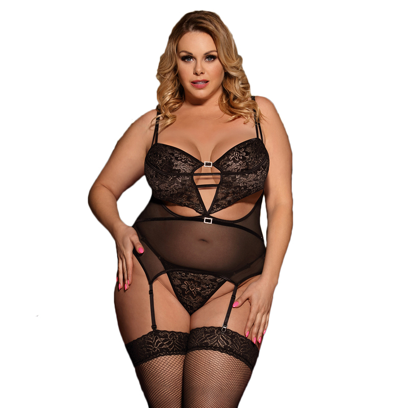 Picardias Sexi Mujer Black Transparent Lace Baby Doll Sexy Lingerie Plus Size Open Back Erotic Sexy Lingerie With Garter R80426