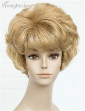 Strong Beauty Short Curly Golden Blonde Synthetic Hair Full Capless Wig