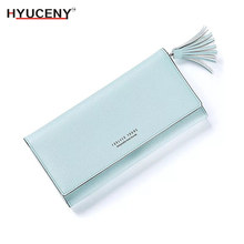 New Fashion tassel Women Purse Brand Long Wallet Female Solild Casual Elegant Pu Leather