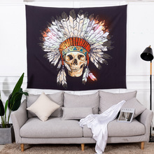 Tapestry beach towel cloth shawl bedroom wall decoration rectangular  Skull style 100% polyester