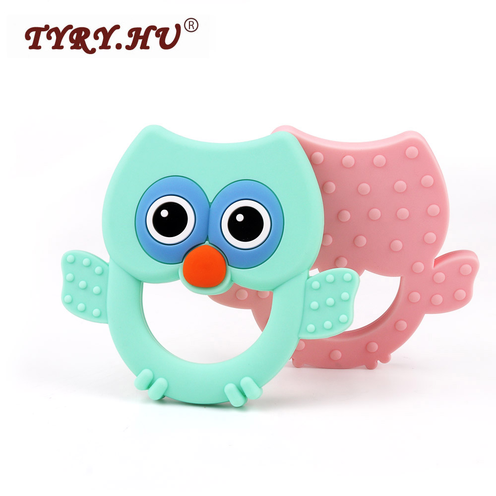 TYRY.HU 1pcs Baby Teether 5 Color Owl Animal Food Grade Silicone Teether Silicone Chew Charms Baby Teething Gift Toddler Toys