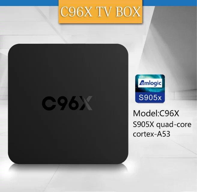 Prix pour Nouveau C96X Android TV Box Amlogic S905X Quad Core Android 6.0 1 GB RAM 8 GB NAND FLASH HDMI 2.0 WIFI 4 K 1080 P Médias lecteur