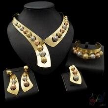 Yulaili Free Shipping Unique Round Bead Design Pure Silver Gold Color Dubai Jewelry Set Anniversary Four Jewelry Sets