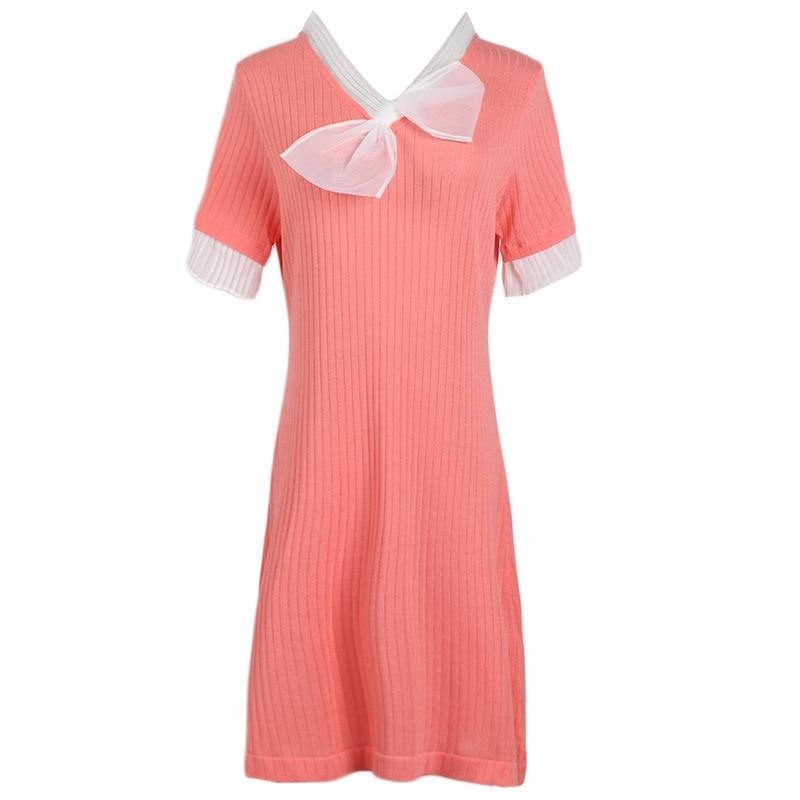 GRUIICEEN elegant women summer casual knitted dress short sleeve bow tie pink dress v neck spring dress GY2018784